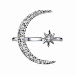 Star Moon 925 Silver size adjustable 6-10